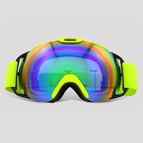 Hombres y mujeres gafas de esquí antivaho alpinismo al aire libre Gafas de doble capa gafas de sol de gran esfera para esquiar y escalar , Fluorescent green