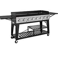 "The Royal Gourmet event 8-burner gas grill GB8000 delivers 104,000 BTU'S of heat across the 950 square inches cooking space.It features 1/4"" diameter porcelain wire cooking grates,two separate grilling areas,two folding down side table , 8 st..."