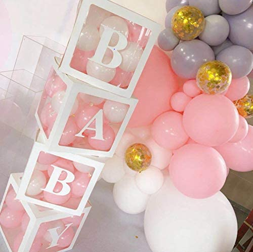 4PCS Balloon Box for Baby Shower Decorations For Boy Girl And Neutral. Gender Reveal Balloon Decorative Blocks With 3 Pack Letters BABY. Set Include 4pcs White Transparent Balloon Box For 1st Birthday Party Decor.