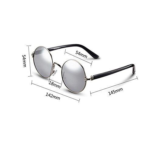 Plateada Plata caja Gafas Uv De Protección 100 Polarizadas Sol Redondas Tesite 8nzvxqwdz