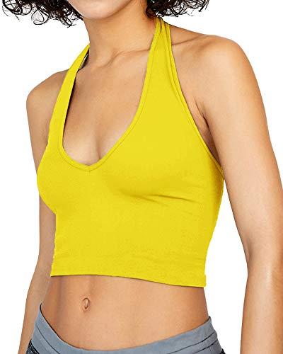 - CLOZOZ Women's Ribbed Halter V Neck Sleeveless Backless Basic Crop Top (Lemon Yellow, S)