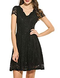 ACEVOG Women's Vintage Floral Lace Sleeveless Deep V Neck Cocktail Formal Swing Dress