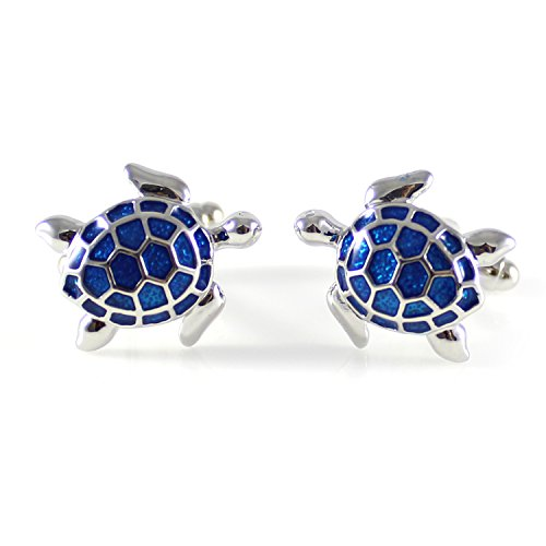 MENDEPOT Novelty Silver Tone with Transparent Blue Enamel Sea Turtle Cufflink Turtoise Cufflink ()