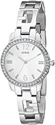 GUESS Women's U0568L1 Iconci Silver-Tone Logo Watch with Genuine Crystals & Self-Adjustable Links