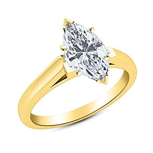 (1/2 Ct Marquise Cut Cathedral Solitaire Diamond Engagement Ring 14K Yellow Gold (H Color VVS2 Clarity))