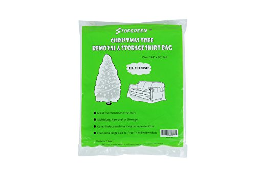TopGreen Heavy Duty Christmas Tree Removal Bag 144-Inch Circumference by 90-Inch Tall Tree Storage Bag Waterproof Dustproof Tree Cover Patio Furniture Cover Large Plastic Bag Multi-Purpose