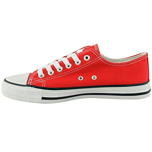 LADIES WOMENS CANVAS LACE UP PLIMSOLL FLAT GYM SHOES SNEAKERS TRAINER PUMPS SIZE Red 7Styu