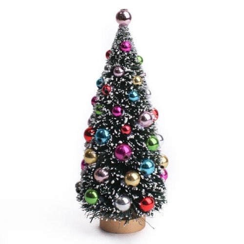 Beautiful Snow Flocked Holiday Bulb Decorated Miniature Pine Tree for Decorating, Crafting, and Displaying