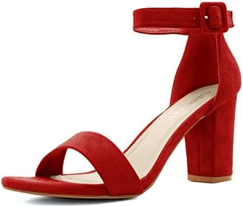 Allegra K Woman Open Toe Chunky High Heel Ankle Strap Sandals