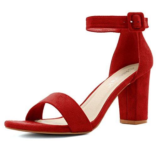 Allegra K Woman Open Toe Chunky High Heel Ankle Strap Sandals (Size US 7) Red