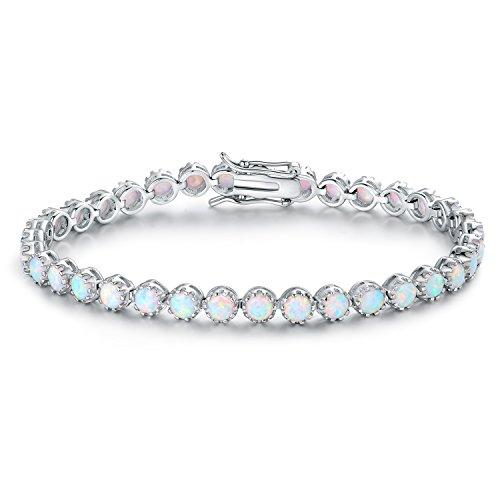 Barzel White Rhodium-Plated-Created Opal Crown Tennis Bracelet (Created Opal Bracelet)