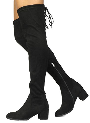 DREAM PAIRS Women's Laurence Black Over The Knee Thigh High Chunky Heel Boots Size 11 M US