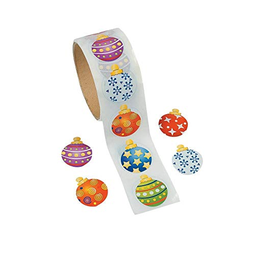 Fun Express Ornament Stickers Roll 100 Stickers Roll - Christmas Party ()