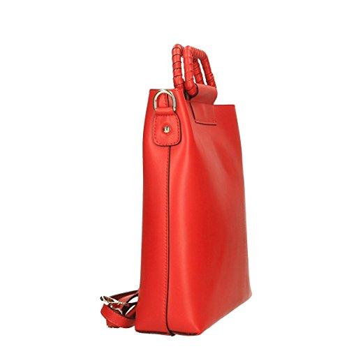 Chicca Borse Piel genuina bandolera 32x31x8 Cm Rojo