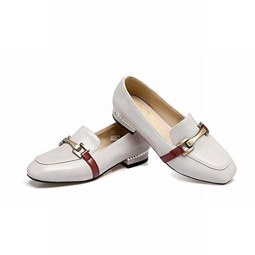 Carolbar Womens Vierkante Teen Casual Comfort Lage Hakken Loafers Schoenen Grijs