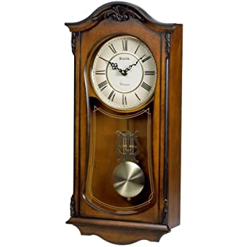 Amazoncom Wall Clocks Grandfather Wood Wall Clock with Chime