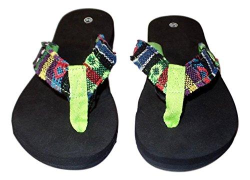 101 BEACH Womens Summer Stripe Frayed Flip Flop Sandal Green