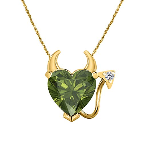 Silver Gems Factory 14k Gold Plated 1.50 Ct Green Tourmaline Devil Heart Pendant Necklace with Cubic Zirconia Accent 18''