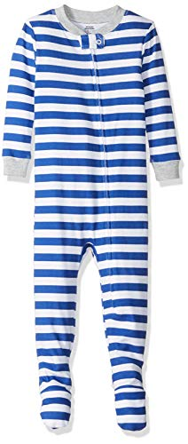 Amazon Essentials Baby Boys Zip-Front Footed Sleeper, Even Stripe Navy, - Front Footed Snap Sleeper