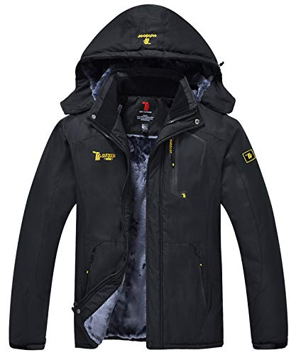 YSENTO Mens Waterproof Winter Outdoor Ski Jacket Warm Windproof Fleece Coats with Hood