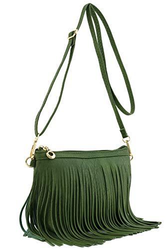Small Fringe Crossbody Bag with Wrist Strap (Olive) (Fringe Olive)
