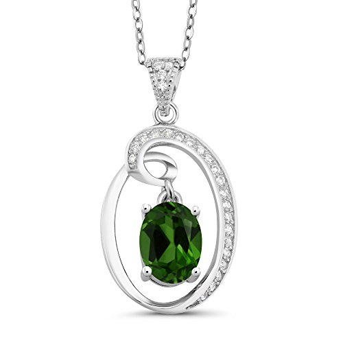 Chrome Gem Gem - 1.50 Ct Oval Green Chrome Diopside 925 Sterling Silver Pendant