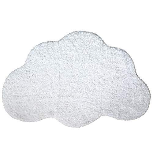 Habudda Cloud Shape Area Rugs for Kids Room Warm Soft 100% Cotton Luxury Plush Handmade Knitted Nursery Decoration Rugs Baby Crawling Rugs Carpet 100CM65CM (White) (Rug Cloud Shaped)