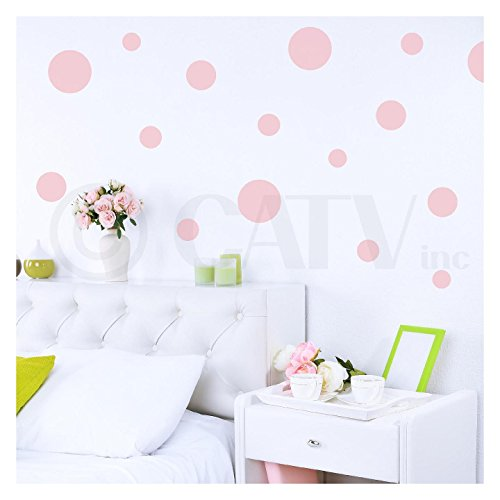 (Assorted Vinyl Polka Dots circle wall decals vinyl stickers nursery decor (Vintage Pink/set of 32))