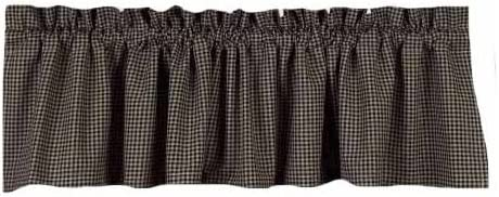 Home Collection by Raghu Newbury Gingham Black Valance, 72 by 15.5