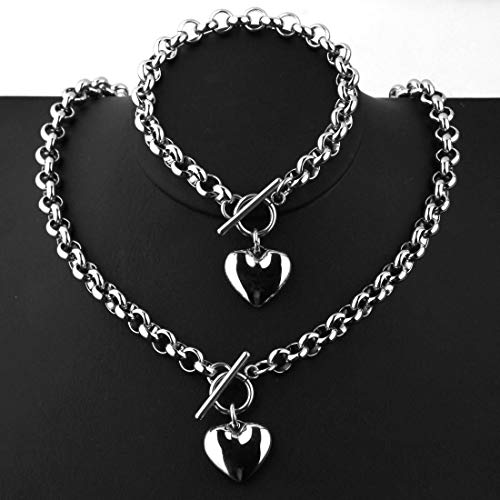 - moahhally 2019 Women Heart Necklace Bracelet Set Charm Stainless Steel Round Rolo Chain Toggle Bangle Necklace