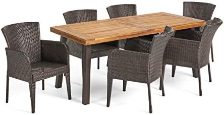 Christopher Knight Home Great Deal Furniture | Delgado 7-Piece Outdoor Dining Set | Wood Table w/Wicker Chairs |