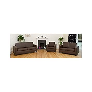 Swell New Brown Box Sofa Set 3 2 Faux Leather Bargain Price 2 Bralicious Painted Fabric Chair Ideas Braliciousco