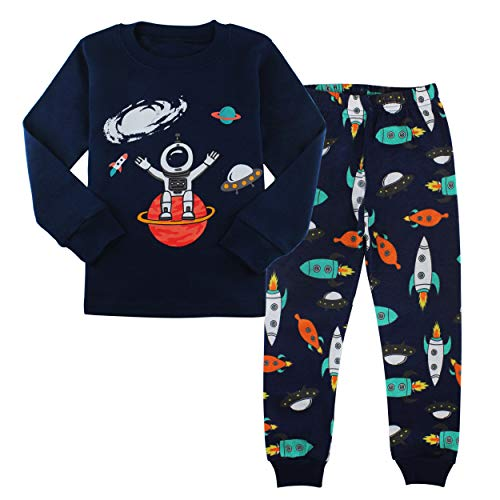 (AmberEft 3T Pajamas for Boys Space Kid Clothes Toddler Cotton PJs Sets Long Sleeve)