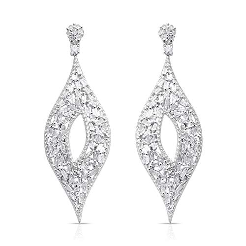 Diamond Baguette Cluster Earrings 925 Sterling Silver Platinum Plated Gift Jewelry for Women Cttw 0.9 ()