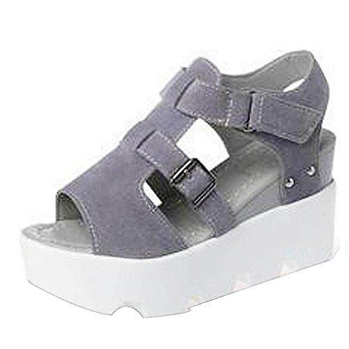 Hunpta Damen Sommer Sandalen Schuhe Peep-Toe High Schuhe Römische Sandalen Damen Flip Flops Grau