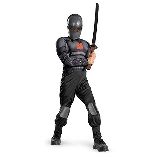 Kid Holloween Costumes (Disguise Boys Hasbro GI Joe Movie Snake Eyes Light Up Deluxe Muscle Costume, One Color, Large/10-12)