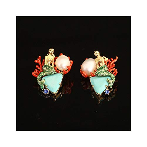 Enamel Green Triangle Natural Stone Mermaid Pearl Earrings 925 Sterling Silver Needle Earrings,Gold-color