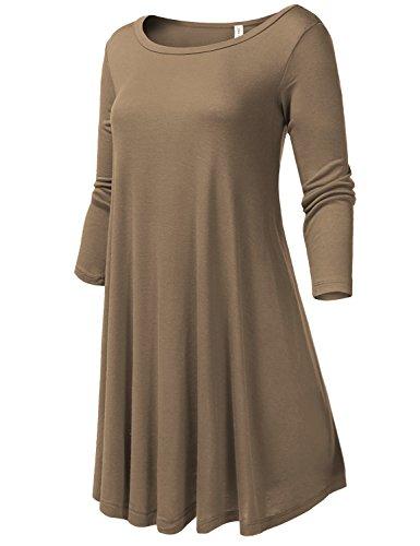 Round Neck Flowy Stretch Knit 3/4 Sleeve Short Dresses,X-Large,004-Mocha