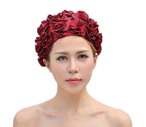 Retro Swim Caps - Huachnet Retro Petal Cap - Flower Swim Cap (Red Wine)