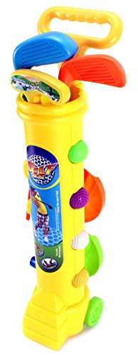 Little Golfers Children's Kid's Toy Golf Set w/ 4 Balls, 3 Clubs, 2 Practice Holes, 2 Flags, 2 Tees (Colors May Vary)