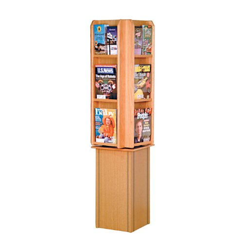 (Wooden Mallet LM24-FS Spinning / Rotating Counter 12 Pocket Magazine Rack or 24 Pocket Brochure Holder from ABC Office in Light Oak)