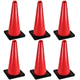 24'' High Hat Cones in Fluorescent Orange with Black Base for Indoor/Outdoor Traffic Work Area Safety Marker & Agility Sport Training by Bolthead Industrial (6-Pack)