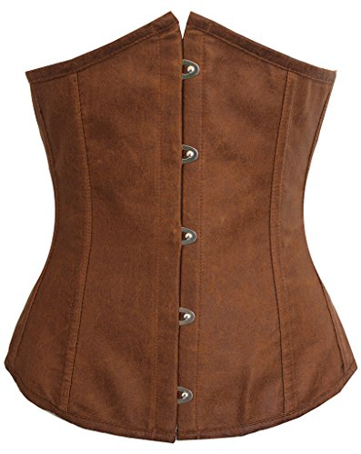[Alivila.Y Fashion Womens Faux Leather Sexy Underbust Waist Training Corset 2686A-Brown-XL] (Brown Leather Corset)