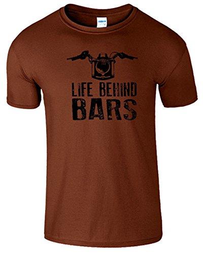 """SNS Online Kastanie / Schwarz Design - L - Brustumfang : 42"""" - 44"""" - Life Behind Bars Frauen Der Männer Damen Unisex T Shirt"""