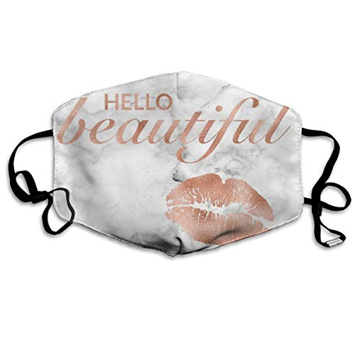Printable Masks For Adults (Hello Beautiful Lips Rose Gold Marble Printable Dust Mask Anti-dust Polyester Mouth Face Masks Mouth)