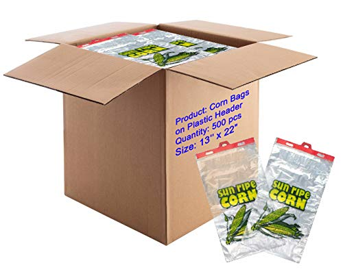 APQ Pack of 500 Corn Bags on Plastic Header 13 x 22 + 2 LP. Linear Low Density Polyethylene Bags on headers 13x22. Printed Sun Ripe Corn. 1.20 Mil. Clear Plastic Bags for Industrial, Food Service.
