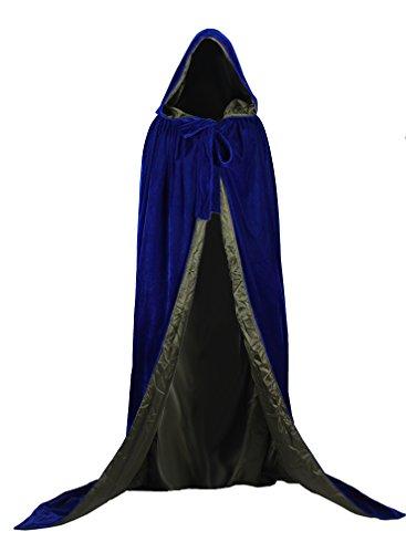 AngelWardrobe Halloween Hooded Cloak MEDIEVAL Various Colors Wedding Cape SCA Blue-Dark Green L (Dark Princess Costume)