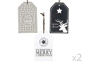 MISTY LAKE BY AGRICOLA Tag vidrio W Imprimir 3ass diseños de decoraciones de Navidad para los árboles