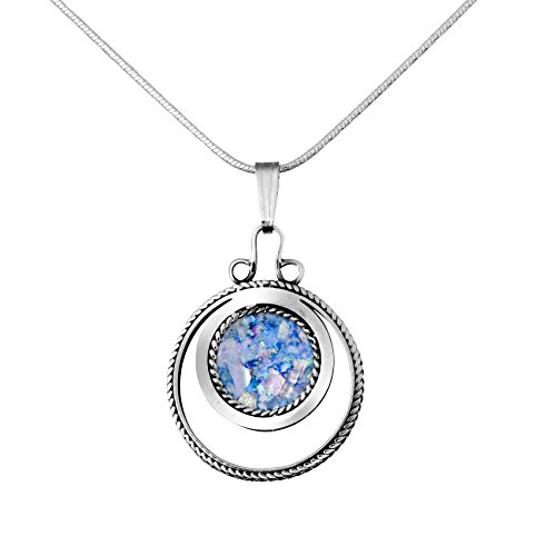 Circle Roman (Sterling Silver & Roman Glas Circle Design Pendant)
