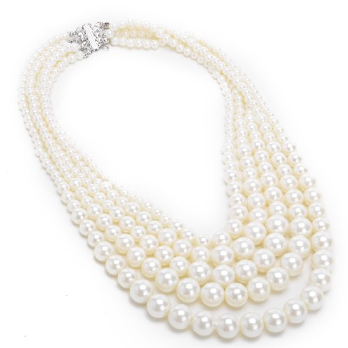 fashion-resin-white-simulated-pearl-multi-strand-5-layers-choker-dressy-bib-necklace
